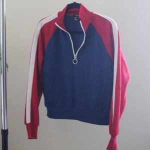 Forever 21 1/4 Zip Sweatshirt Red Blue Size Small